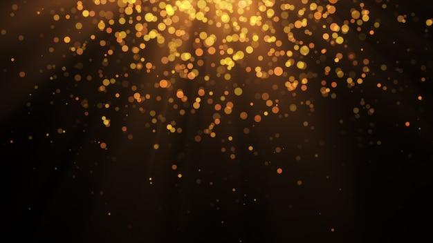 Новый год 2020. боке фон. фары абстрактные. счастливого рождества золотой блеск света. расфокусированные частицы. изолированные на черном. overlay. золотой цвет
