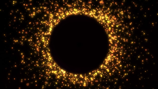 Новый год 2020. боке фон. фары абстрактные. счастливого рождества золотой блеск света. расфокусированные частицы. изолированные на черном. overlay. золотой цвет рамка