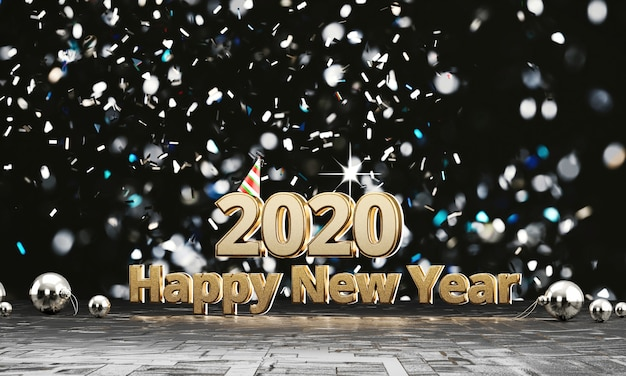 2020 texts gold happy new years with light bokeh background, 3d rendering.