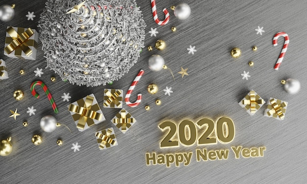 2020 texts happy new year background in christmas themes topview, 3d rendering.