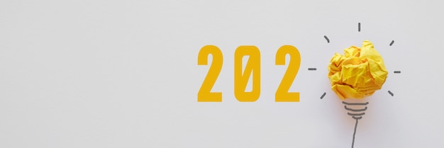 2020 yellow paper light bulb
