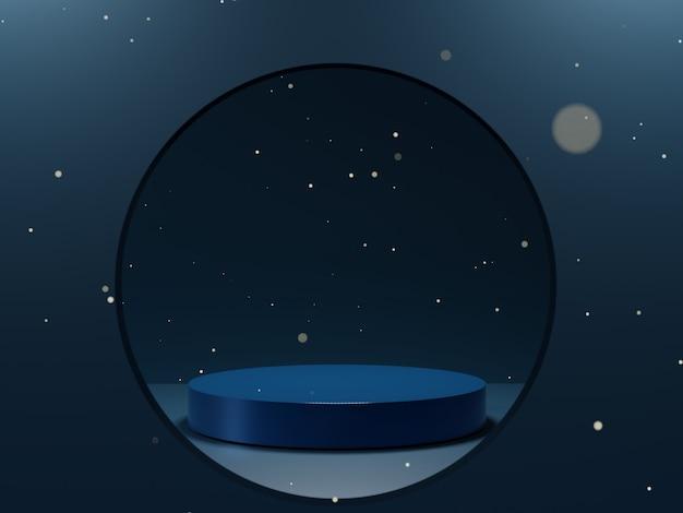 Глянцевый подиум класса люкс классический синий цвет 2020 года. сцена показа мод, пьедестал, витрина