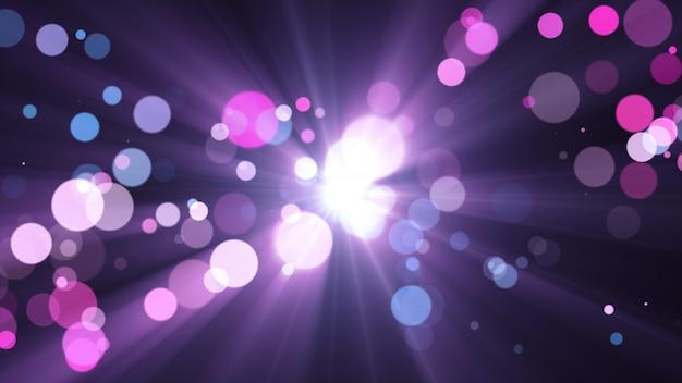 Новый год 2020. боке фон. фары абстрактные. счастливого рождества блеск света. расфокусированные частицы. фиолетовый и розовый цвета. лучи в центре