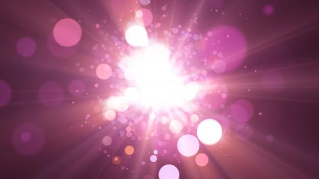 Новый год 2020. боке фон. фары абстрактные. счастливого рождества блеск света. расфокусированные частицы. фиолетовый и розовый цвета, взрыв.