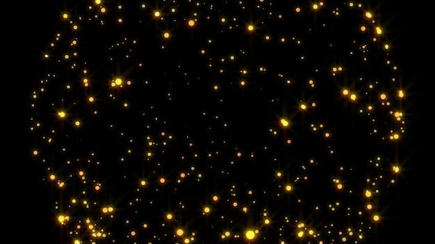 2020年。背景のボケ味。抽象的なライト。メリークリスマスの背景。ゴールドラメの光。デフォーカス粒子。黒に分離されました。オーバーレイ。金色