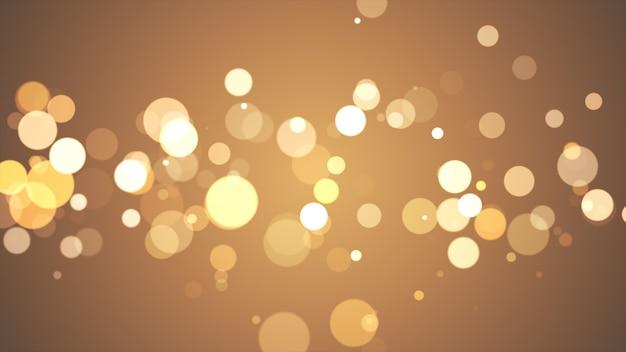 Новый год 2020. боке фон. фары абстрактные. счастливого рождества золотой блеск света. расфокусированные частицы. золотой цвет
