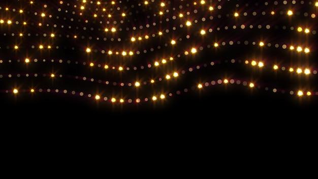 2020年。背景のボケ味。抽象的なライト。メリークリスマスの背景。ゴールドラメの光。デフォーカス粒子。黒に分離されました。オーバーレイ。金色。行
