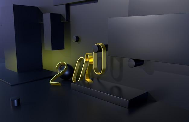 黒の背景を持つ2020年ゴールデンサイン