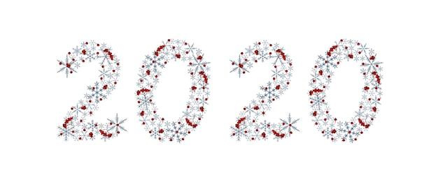 Элегантная новогодняя художественная надпись 2020 года с серыми снежинками и ягодами рябины. акварельные элементы
