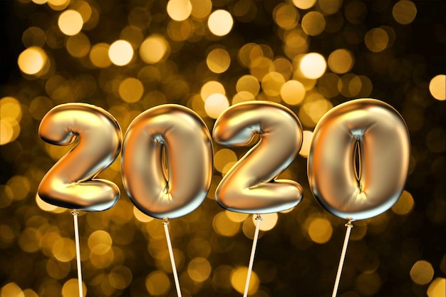 2020 золотых воздушных шаров