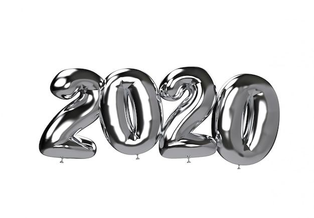 2020 серебряный шар цифры