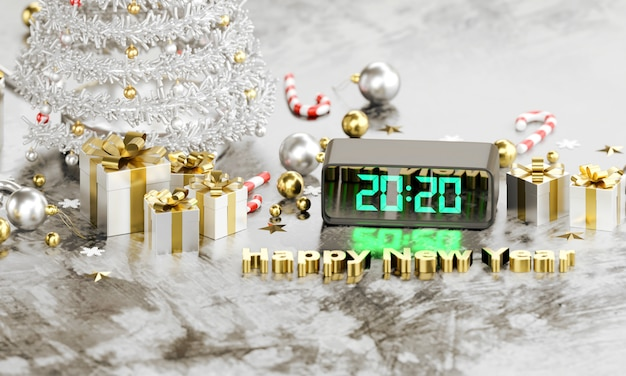 デジタル時計の2020のテキストは、新年あけましておめでとうございます
