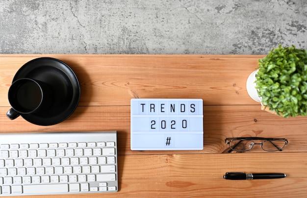 Тенденции 2020 бизнес-концепция, вид сверху