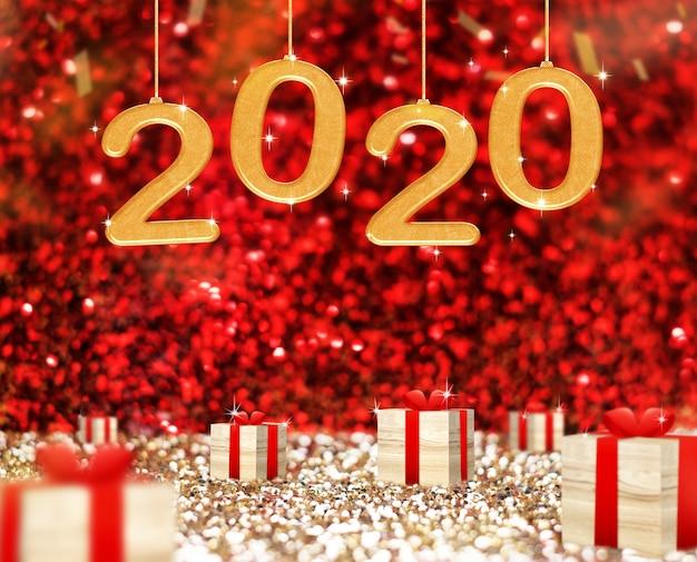 新年あけましておめでとうございます2020グリーティングカードと赤い輝くキラキラで木製プレゼントボックス