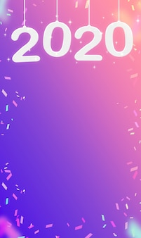 2020新年あけましておめでとうございます、ピンクのグラデーション紫の壁紙でぶら下がっている紙吹雪