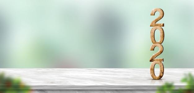 ぼかしの抽象的な緑のボケ味でテーブルに新年2020