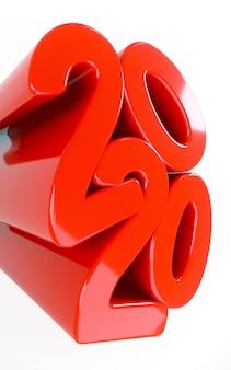 Красный 2020 новый год празднование вертикальной связи баннер в креативный модный стиль для постов в социальных сетях. руки держат текст.
