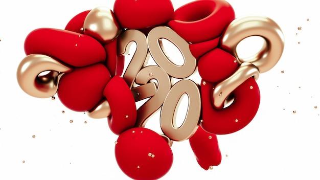 2020 новый год. красные и металлические золотые абстрактные формы