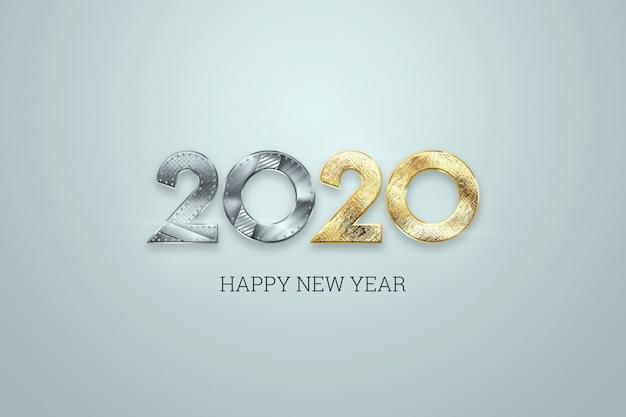 明るい背景に新年あけましておめでとうございます、金属と金の番号2020デザイン。メリークリスマス