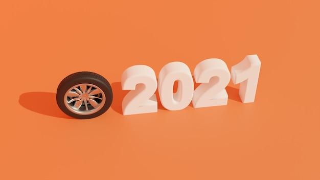 20213d背景新年の車のタイヤと上面図