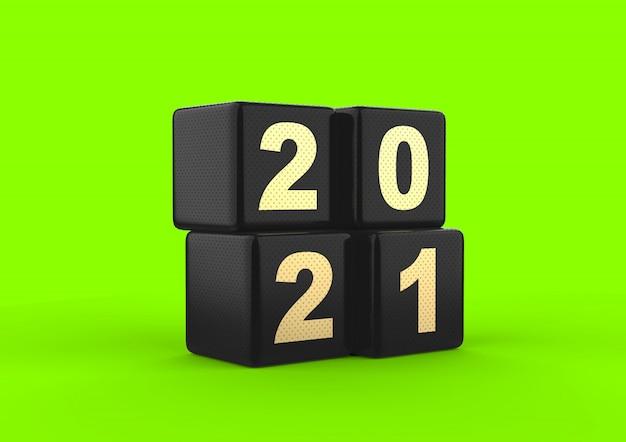 2021ドットテクスチャの緑色の画面が分離された3dレンダリング黒の光沢のあるキューブ番号ゴールド