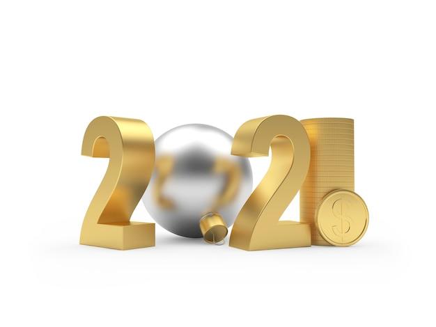 2021 год и серебряный новогодний шар с долларовыми монетами