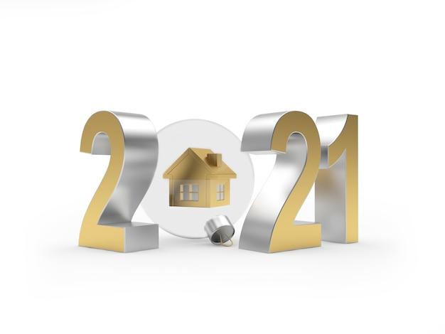 2021年と家のアイコンと透明なクリスマスボール