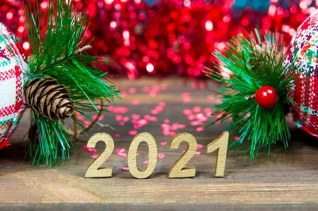 2021 and christmas decorations