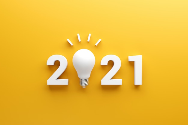 2021 creativity inspiration concepts, light bulb idea with 2021 new year.
