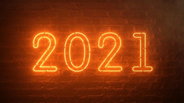 2021 огонь оранжевый неоновая вывеска фон новогодняя концепция. с новым годом. кирпичный фон. мерцающий свет.