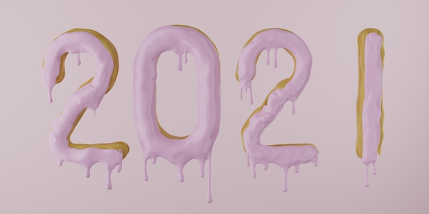 2021 from a donut with dripping icing on a pink background, 3d render