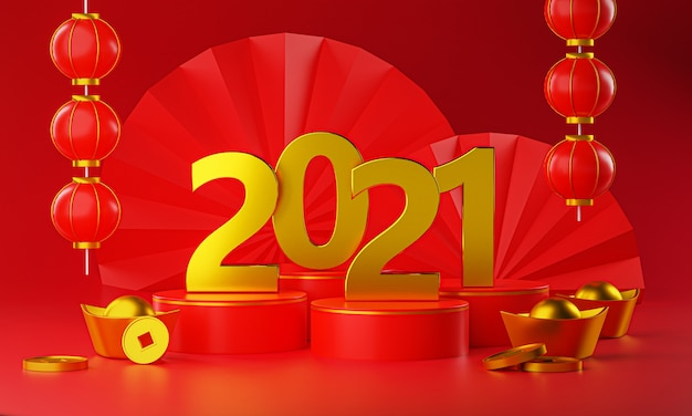 2021 gold chinese new year. gold podium, lantern and chinese gold coin ingot 3d rendering
