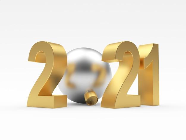 Золотой номер 2021 года и серебряный елочный шар
