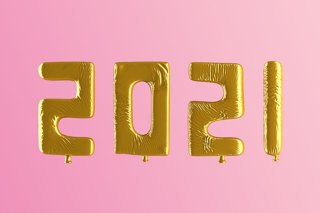 2021 golden balloons with pink background Premium Photo