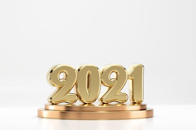 흰색 배경 3d 렌더링에 고립 된 연단에 2021 황금 텍스트 기호