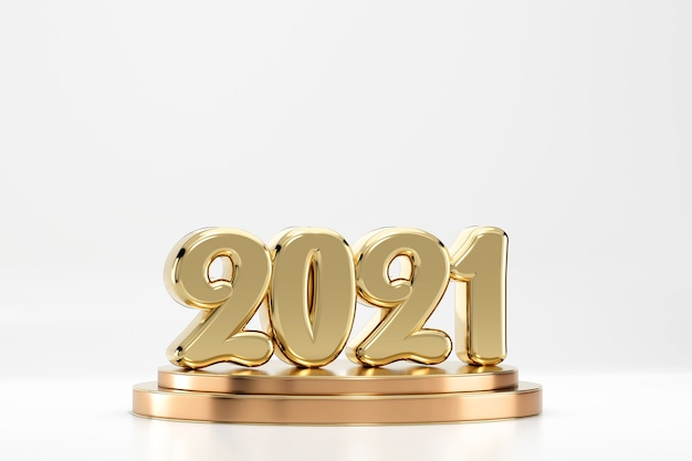 2021 golden texts symbol on podium isolated on white background 3d render