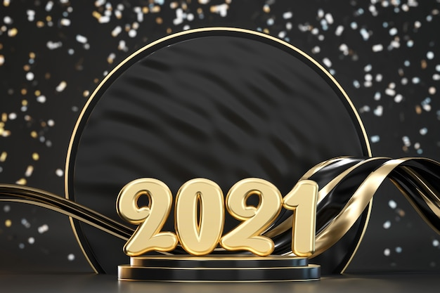 2021 golden typography on podium with blurry confetti background 3d render
