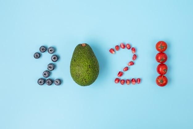 2021年明けましておめでとうございます果物と野菜で新しいあなた