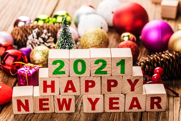 2021 happy new year blocks with christmas ornaments