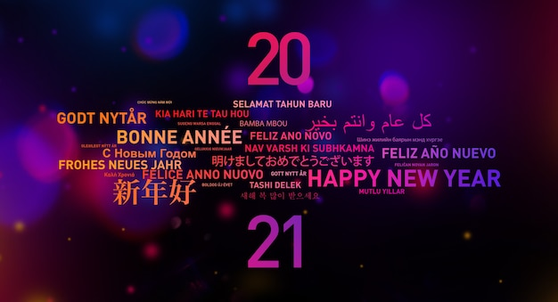 다른 언어로 된 세계의 2021 새해 복 많이 받으세요