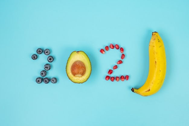 2021 happy new year and new you with fruit