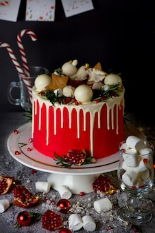 2021 is the year of the bull. christmas or new year decorated cake with cream cheese