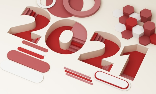 The 2021 ladder-down font in trendy red and gray stripes is surrounded by geometric objects 3d rendering