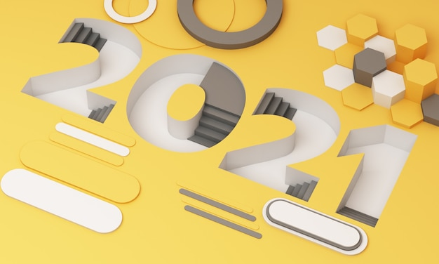 The 2021 ladder-down font in trendy yellow and gray stripes is surrounded by geometric objects 3d rendering
