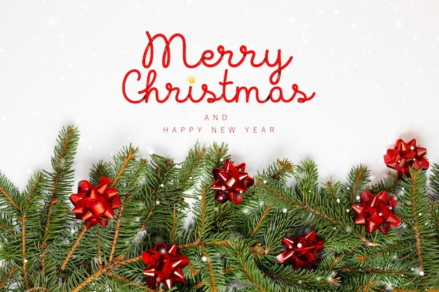 2021 merry christmas minimal composition with fir branches