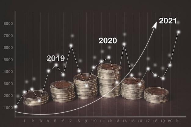 2021仮想ホログラム統計グラフで暗い背景に上昇する各線のお金のコイン