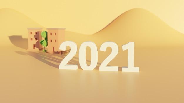 2021年新年の砂漠の背景の3d番号