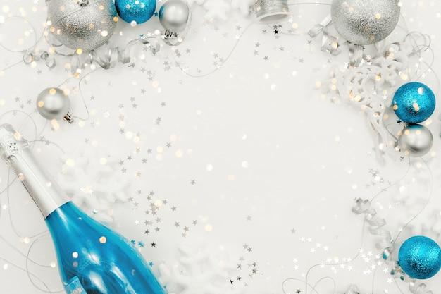 Новогодние украшения 2021 года и праздничный фон пустого пространства.