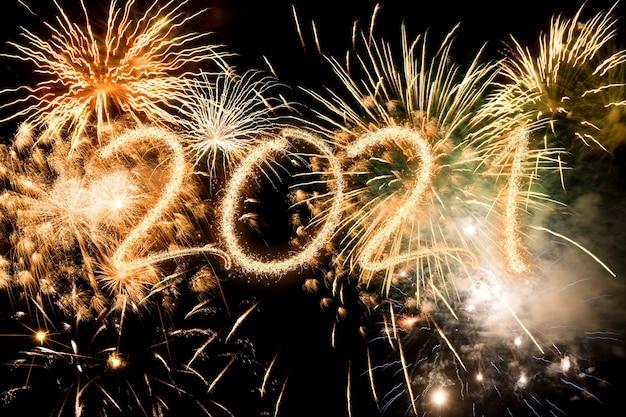 2021 새해 불꽃 놀이 배경, 해피 홀리데이 및 새해 개념