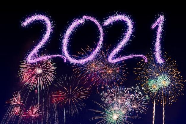 2021 새해 불꽃 놀이 화려한 배경